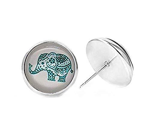 Pendientes de Elefante Rosa con diseño de Rosas, Pendientes de Abeja, Pendientes de Oso, Pendientes de Lobo, Pendientes de Caballo, Pendientes de Cristal para Fotos