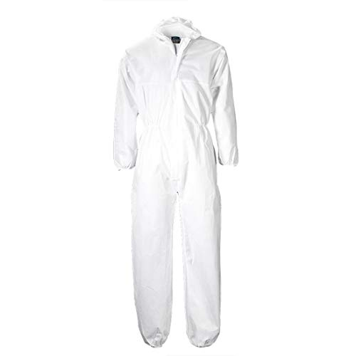 Disposable Workwear Polypropylene White Suit Coverall Overall Lab Coat Suit Protective Boiler Hazard Suits Paper Painting and Decorating - Size L