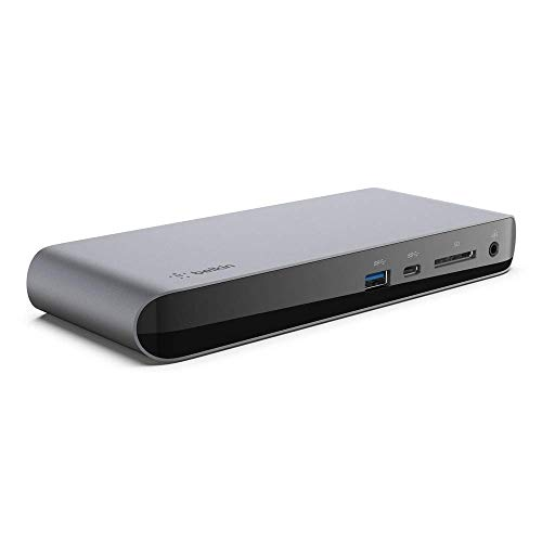 Belkin Thunderbolt 3 Dock Pro avec câble Thunderbolt 3 de 80 cm (compatible macOS et Windows, double moniteur DisplayPort 4K HD, 40 Gbit/s, Power Delivery 85 W, lecteur de carte SD)