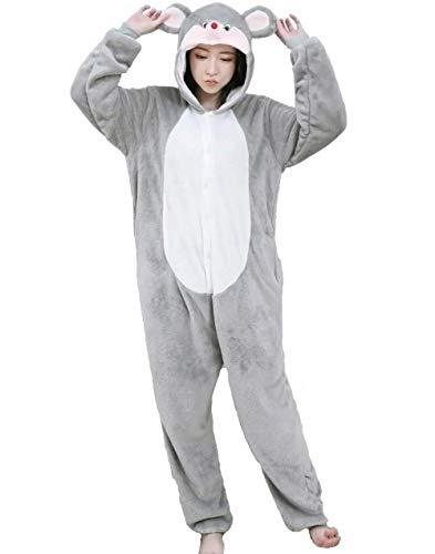 emmarcon Pigiama Animale Kigurumi Tuta Intera Costume Carnevale Halloween Cosplay, Unisex Adulto-L/Altezza 170-179cm, Massimo 100kg.-Topolino/L