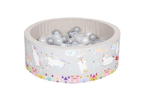 Knorrtoys 68091 68091 Soft-Unicorn - Piscina de Bolas (150 Bolas), Color Gris, Blanco y Transparente