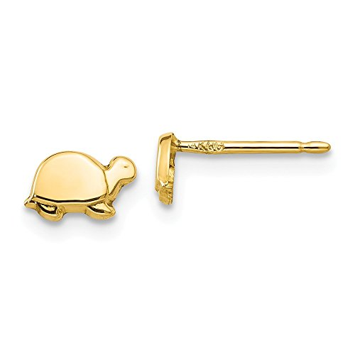 14k Yellow Gold Mini Turtle Post Stud Earrings Ball Button Animal Reptile Fine Jewelry For Women Gifts For Her