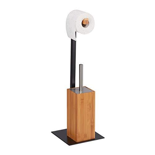 Relaxdays WC Garnitur, Klobürste & Klorollenhalter, Bambus & Metall, Toilettengarnitur, 60 x 20 x 20 cm, Natur/schwarz, 1 Stück