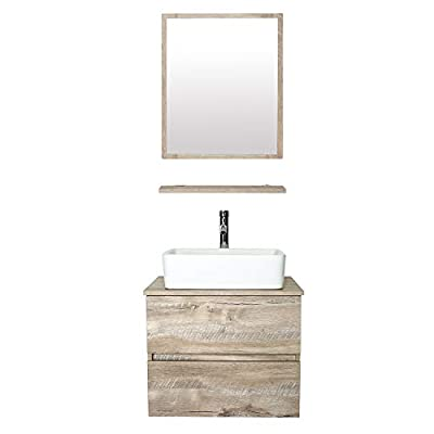 """eclife 24"""" Bathroom Vanity Sink Combo Wall Mounted Natural Cabinet Two Drawers Vanity Set White Ceramic Vessel Sink Top, W/Chrome Faucet, Pop Up Drain & Mirror (T03E02AK)"""