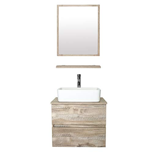 "eclife 24"" Bathroom Vanity Sink Combo Wall Mounted Natural Cabinet Two Drawers Vanity Set White Ceramic Vessel Sink Top, W/Chrome Faucet, Pop Up Drain & Mirror (T03E02AK)"