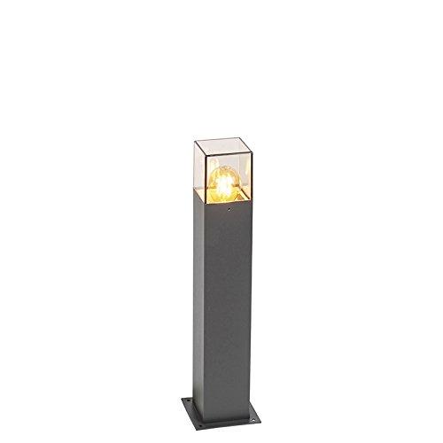 QAZQA Moderne Lampadaire/Lampe de sol/Lampe sur Pied/Luminaire/Lumiere/Éclairage d'extérieur moderne 50 cm anthracite IP44 - Danemark Aluminium/Plastique Anthracite Cube/Carré/Oblongu