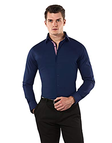 Vincenzo Boretti Herren-Hemd Body-Fit (besonders Slim-fit tailliert) Uni-Farben bügelleicht - Männer lang-arm Hemden für Anzug Krawatte Business Hochzeit Freizeit dunkelblau/weinrot 41/42