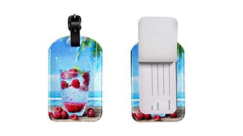 Valigia in pelle PU etichetta bagaglio, regolabile cinturino in pelle antigraffio etichetta, design elegante Raspberry grafica