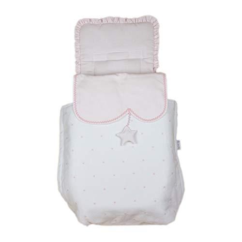 Saco para Capazo Rosy Fuentes - Saco para Bebé Universal - Bonito Diseño - Resistente y Duradero - Elaborado en Piqué - Color blanco rosa
