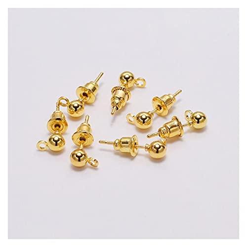 Juan-375 Tapones para pendientes de 50 piezas de bolas para pendientes y pendientes (color: oro, tamaño: 3 mm)