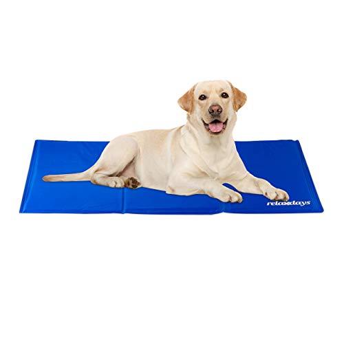 Relaxdays Kühlmatte Hund, selbstkühlend, abwischbar, robust, mit Gel, Kühldecke für Tiere, Kältedecke 60 x 100 cm, blau, Polyester
