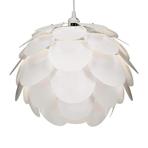 kwmobile Lampadario puzzle DIY bocciolo fiore - Paralume per lampada a sospensione - con set fissaggio al soffitto portalampada E27 cavo 80cm - bianco