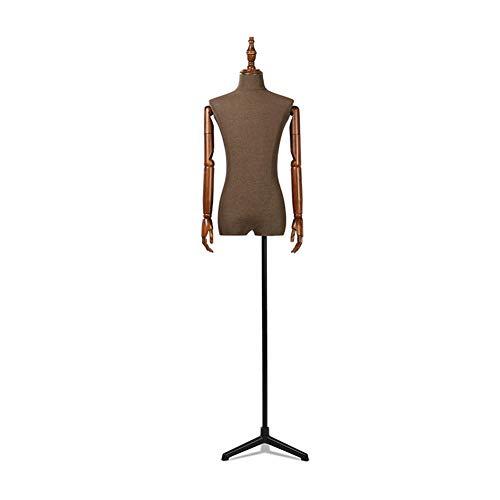 QYJH Herren Schaufensterpuppe Figur Büste mit Metallfuß und Verstellbarer Massivholzhand für Kleidungsdisplay