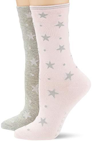 ESPRIT Damen Socken Dots & Stars 2er Pack - Baumwollmischung, 2 Paar, Rosa (Grey/Pink 70), Größe: 39-42