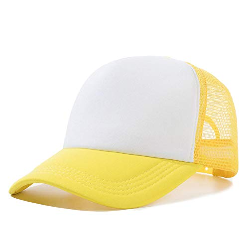 YDXC Gorra de béisbol para Hombres y Mujeres Unisex Mesh Visor Sombrero Colores sólidos Ajustables Urban Hip Hop Moda Estilo Trucker aplicar a la Pesca de Running etc-Yellow_White_54Cm-60Cm