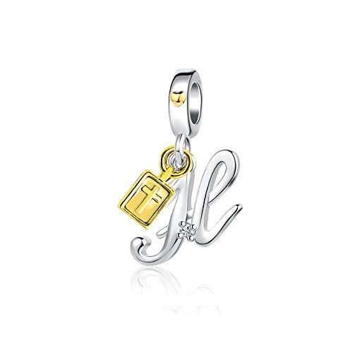 KunBead Heart Cross Bible Dangle Alphabet Initial H Letter Charms Big Sis Lil Sis Sister Birthday Beads Charms