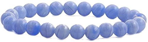 Pulsera de buena suerte Pulsera de piedra Mujer, 7 Chakra Piedra de piedra natural Pulsera de Calcedonia Azul Lucky Yoga Brazalete Elástico Boho Fashion Charm Jewelry para damas Un gran regalo como un