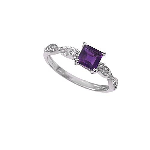 Anillo de plata de ley 925|De piedras preciosas Cuadrado Facetadas de amatista natural de calidad AAA para mujer|Anillo de amatista, anillo de compromiso, anillo astrológico|Talla de anillo 10.5 (D17)