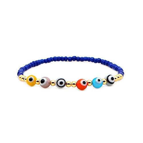 Pulsera para Mujer Pulsera de Mal de Ojo Joyería Boho Tejida a Mano Estiramiento Fadeless Golden Beads Pulsera Longitud 17 Cm