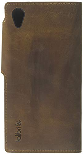kalibri Sony Xperia XA1 Plus Hülle - Leder Handyhülle für Sony Xperia XA1 Plus - Braun - Handy Wallet Case Cover