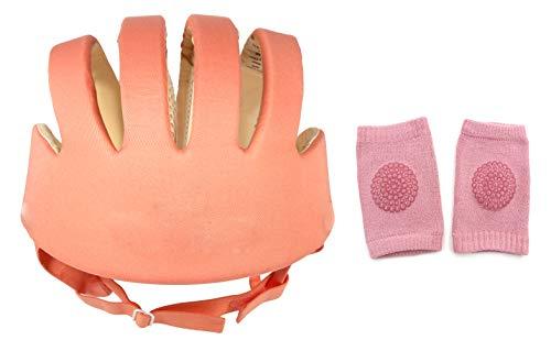 DearJoy Baby Safety Helmet with Corner Guard & Proper Ventilation + Kneepads (Orange)