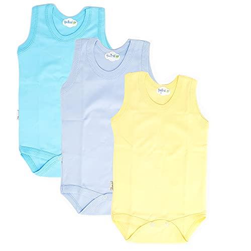 Body para bebé y niño, sin mangas, 100% algodón natural 3 unidades, azul 3-6 Meses
