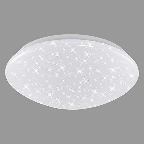 Briloner Leuchten - Luz de techo LED con decoración de luces de estrellas, color de luz blanco neutral, 28 cm, 15 W, 1500 lm, color blanco