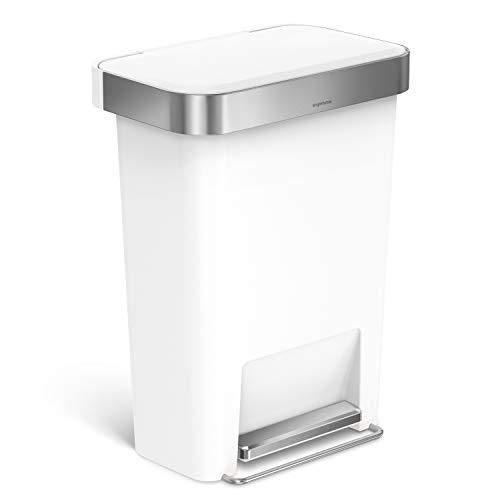 simplehuman, poubelle rectangulaire à pédale, avec réserve à sacs, plastique blanc, 45 litres