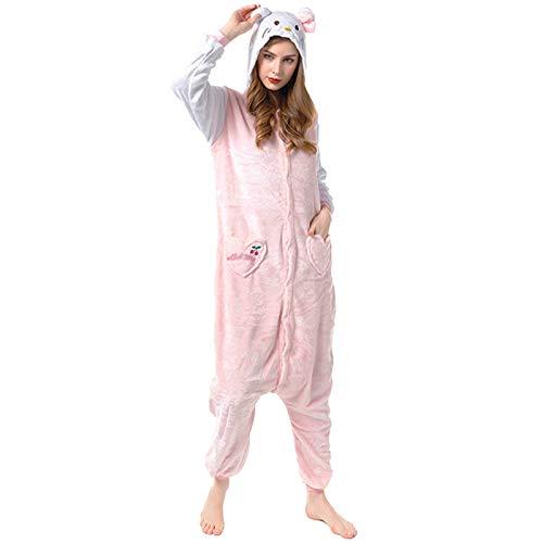 JXILY Pijama de Animales, Pijama de una Pieza de Dibujos Animados de Gato KT para Hombres y Mujeres Cosplay o Pijama Adecuado con Capucha para Exteriores,Rosado,XL