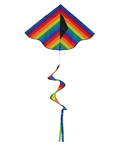 In the Breeze 3158 Rainbow Stripe Delta Spinning Tail, 46-Inch Kite