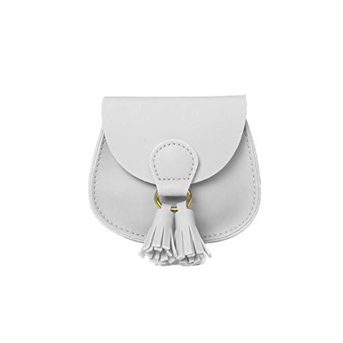 Merkts Mini-Kindertasche mit Quasten-Dekoration, für Lippenstift, Münzgeld, Kinder-Handtasche, Weiß