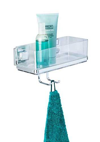 WENKO Vacuum-Loc® Wandablage mit Haken Quadro Edelstahl - Wandregal, Badablage, Edelstahl rostfrei, 25.5 x 15 x 14 cm, Glänzend