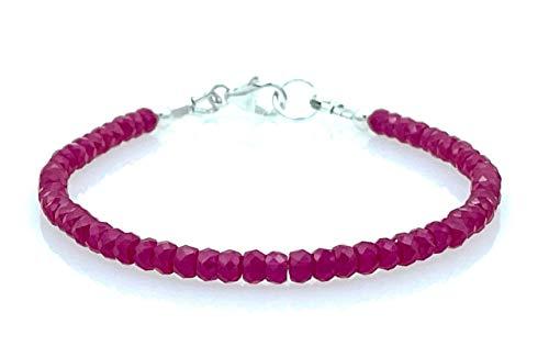 Pulsera de rubios rojos y plata 925, joyas artesanales, estilo minimalista, piedras de nacimiento de julio, regalo para mujer