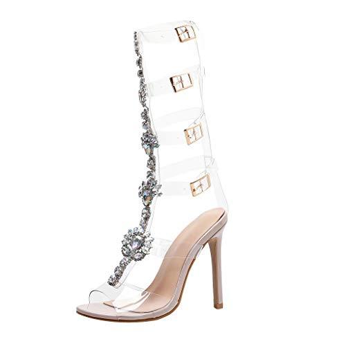Sandalen/Dorical Damen 12 cm High Heels Sommer Sandaletten mit Knöchelriemen Schnalle Pumps Klar Stiletto Schuhe Gladiator Transparente Streifen Sandalen mit Strass für die Hochzeit(Khaki,38 EU)