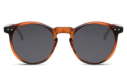 Cheapass Runde Sonnenbrillen Braun Schwarz UV-400 Hipster-Brille Rund Festival-Accessoire Plastik Damen Herren