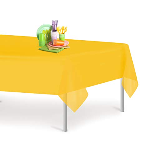 Yellow 1 Pack Premium Disposable Plastic Tablecloth 54 Inch. x 108 Inch. Rectangle Table Cover By Grandipity