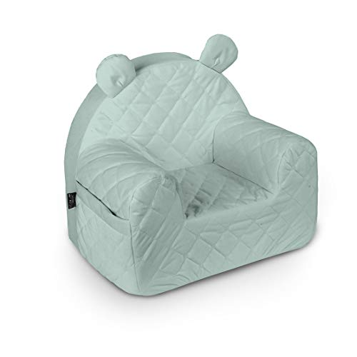 Baby Steps Kindersessel für Jungen Mädchen, Babysessel - 50x35x44 cm - Kindersitz Kindermöbel für Kinderzimmer Spielzimmer, Made in EU, Himmelgrau