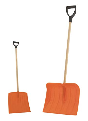 Best Buy! Superio Snow Shovel Bundle - Adult and Kid Sizes, Heavy Duty Orange Snow Shovel with Woode...