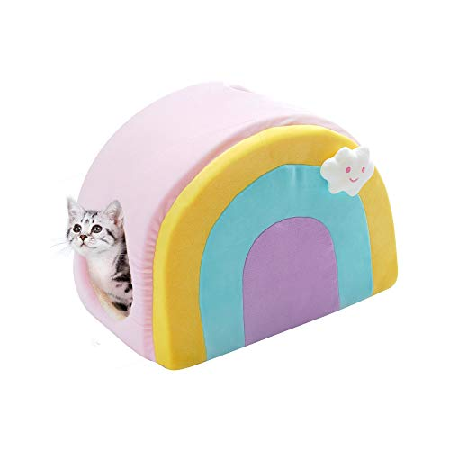 All Fur You 'Small' Rainbow Cat Cave Bed, Cat House for Indoor Cats, Cubby Cat Hideaway Dome Bed Cat Tent Pod Igloo Pet Cave Cat Home Pet Cubes Felt Warm Cozy Caves Cat Hut Covered Beds Puppy Houses