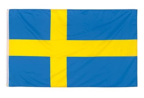 Aricona Schweden Flagge - Schwedische Nationalflagge mit Messing-Ösen - 90 x 150 cm - Wetterfeste Fahnen für Fahnenmast - 100% Polyester