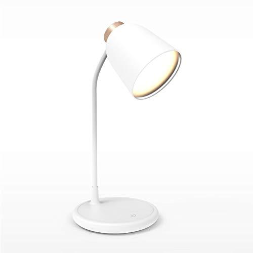 WWWL Lámpara Escritorio lámpara de Mesa led Recargable protección Ocular luz de Lectura USB Alimentado Moderna decoración Regulable lámpara de Escritorio táctil shellGold