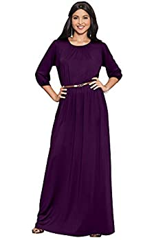 KOH KOH Womens Long 3/4 Sleeve Sleeves Vintage Autumn Fall Winter Flowy Formal Evening Work Office Modest Peasant Cute Abaya Gown Gowns Maxi Dress Dresses Purple M 8-10