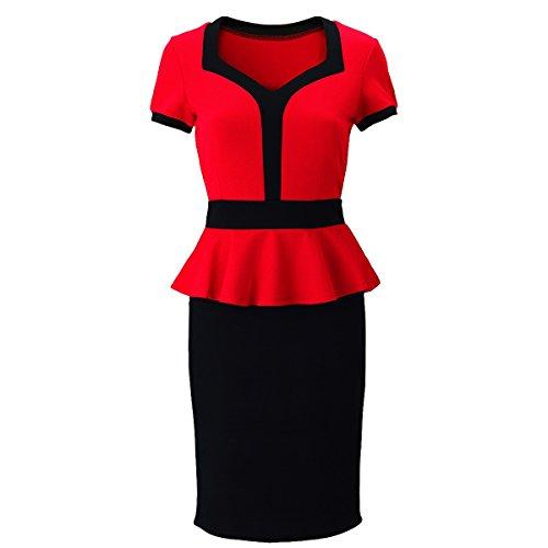 Laeticia Dreams – Vestito da donna, manica corta, lunghezza al ginocchio, con baschina, taglie S M L XL Rot 42