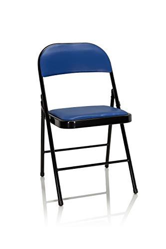 hjh OFFICE 803002 Klappstuhl gepolstert TUDELA Kunstleder Blau Besucherstuhl Faltstuhl klappbar, bis 130kg belastbar