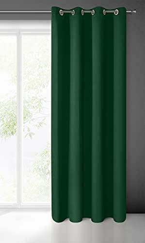 Eurofirany Logan Blackout - Tenda oscurante in raso, 1 pezzo, con occhielli, elegante, liscia, tinta unita, morbida, per soggiorno, camera da letto, salotto, verde scuro, 135 x 250 cm