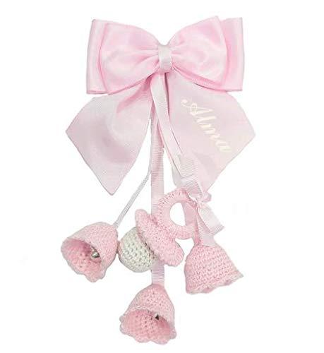 Campanillas de Crochet PERSONALIZADAS para carrito de bebé decorativas con cascabeles (Rosa)