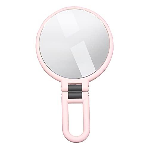 Kstyhome 10X/15X miroir de poche grossissant poignée pliante double face Portable voyage grossissant miroir à main piédestal miroir de maquillage