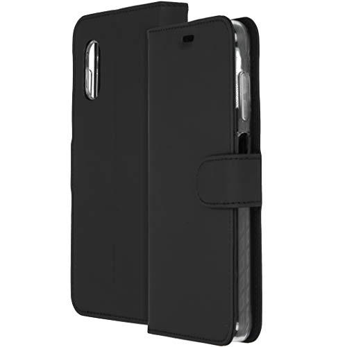 Accezz kompatibel mit Samsung Galaxy Xcover Pro Hülle – Wallet Soft Hülle Handytasche – Side Flip Handyhülle in Schwarz [3 Kartenfächer, Ständer, Magnetverschluss]