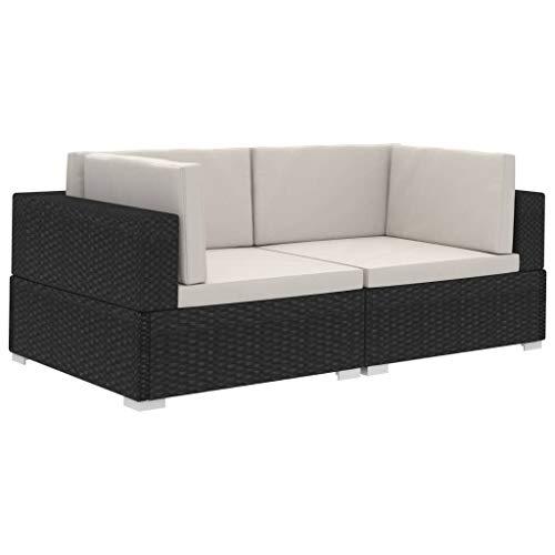 vidaXL Ecksofa 2 STK. mit Auflagen Gartenmöbel Lounge Möbel Sofa Bank Sessel 2er-Sofa Gartensofa Sitzgruppe Rattansofa Poly Rattan Schwarz