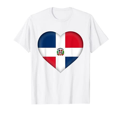 Disfraz de corazn con la bandera de Dominicana I Love Repblica Dominicana Camiseta